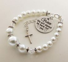 Goddaughter custom ' We will always be here'  Bracelet Baptism gift Christening gift   - Boxed